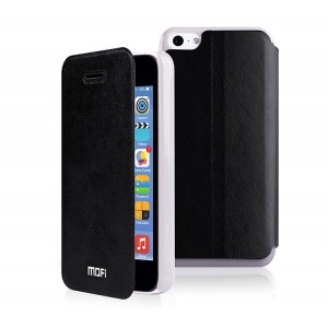 Чехол горизонтальная книжка подставка на силиконовой основе для Iphone 5/5s/SE Черный