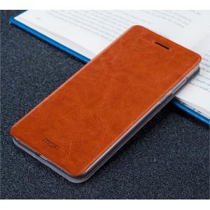 Чехол горизонтальная книжка подставка на силиконовой основе для Xiaomi Mi5S Коричневый