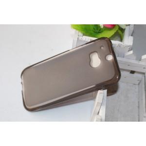 Силиконовый матовый полупрозрачный чехол для HTC One (M8)  Черный