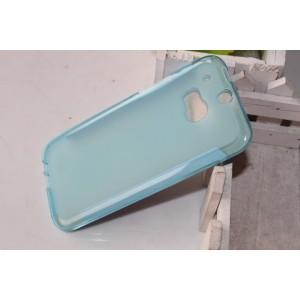 Силиконовый матовый полупрозрачный чехол для HTC One (M8)  Голубой