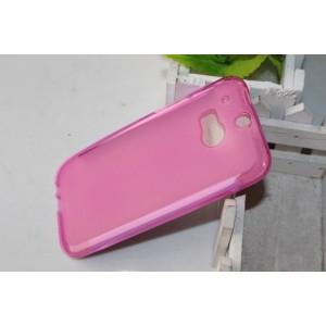 Силиконовый матовый полупрозрачный чехол для HTC One (M8)  Розовый
