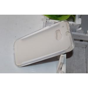 Силиконовый матовый полупрозрачный чехол для HTC One (M8)  Белый
