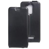 Чехол вертикальная книжка на силиконовой основе с отсеком для карт на магнитной защелке для Asus ZenFone 3 Max Черный