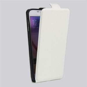 Чехол вертикальная книжка на силиконовой основе с отсеком для карт на магнитной защелке для Samsung Galaxy S6 Белый