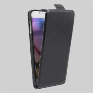 Чехол вертикальная книжка на силиконовой основе с отсеком для карт на магнитной защелке для Samsung Galaxy S6 Черный