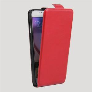 Чехол вертикальная книжка на силиконовой основе с отсеком для карт на магнитной защелке для Samsung Galaxy S6 Красный