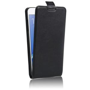 Чехол вертикальная книжка на силиконовой основе с отсеком для карт на магнитной защелке для Samsung Galaxy J7 (2016) Черный