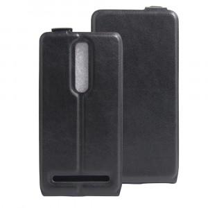 Чехол вертикальная книжка на силиконовой основе с отсеком для карт на магнитной защелке для Asus Zenfone 2 Черный