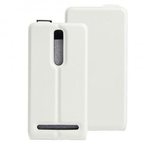 Чехол вертикальная книжка на силиконовой основе с отсеком для карт на магнитной защелке для Asus Zenfone 2 Белый