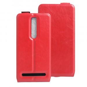 Чехол вертикальная книжка на силиконовой основе с отсеком для карт на магнитной защелке для Asus Zenfone 2 Красный