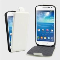 Чехол вертикальная книжка на силиконовой основе с отсеком для карт на магнитной защелке для Samsung Galaxy S4 Mini Белый