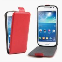 Чехол вертикальная книжка на силиконовой основе с отсеком для карт на магнитной защелке для Samsung Galaxy S4 Mini Красный
