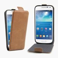 Чехол вертикальная книжка на силиконовой основе с отсеком для карт на магнитной защелке для Samsung Galaxy S4 Mini Коричневый