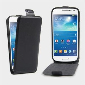 Чехол вертикальная книжка на силиконовой основе с отсеком для карт на магнитной защелке для Samsung Galaxy S4 Mini Черный