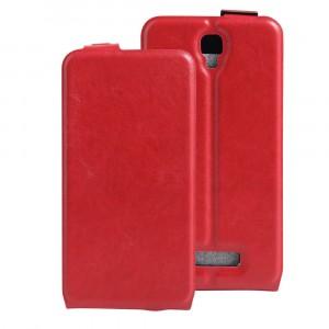 Чехол вертикальная книжка на силиконовой основе с отсеком для карт на магнитной защелке для Lenovo A1000 Красный