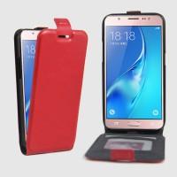 Чехол вертикальная книжка на силиконовой основе с отсеком для карт на магнитной защелке для Samsung Galaxy J5 (2016) Красный