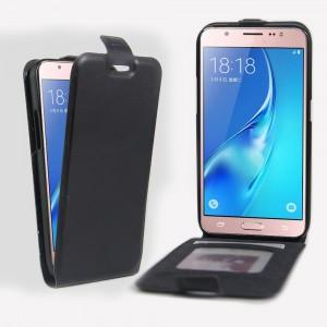 Чехол вертикальная книжка на силиконовой основе с отсеком для карт на магнитной защелке для Samsung Galaxy J5 (2016) Черный