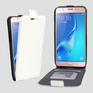 Чехол вертикальная книжка на силиконовой основе с отсеком для карт на магнитной защелке для Samsung Galaxy J5 (2016) Белый