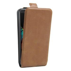 Чехол вертикальная книжка на силиконовой основе с отсеком для карт на магнитной защелке для LG K10 Коричневый