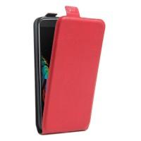 Чехол вертикальная книжка на силиконовой основе с отсеком для карт на магнитной защелке для LG K10 Красный