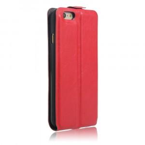 Чехол вертикальная книжка на силиконовой основе с отсеком для карт на магнитной защелке для Iphone 6/6s Красный