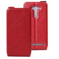 Чехол вертикальная книжка на силиконовой основе с отсеком для карт на магнитной защелке для ASUS Zenfone 2 Laser Красный