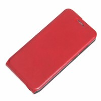 Чехол вертикальная книжка на силиконовой основе с отсеком для карт на магнитной защелке для ZTE Blade A610 Красный