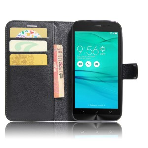 Чехол горизонтальная книжка подставка на силиконовой основе с отсеком для карт на магнитной защелке для ASUS ZenFone Go ZB500KL/ZB500KG Черный