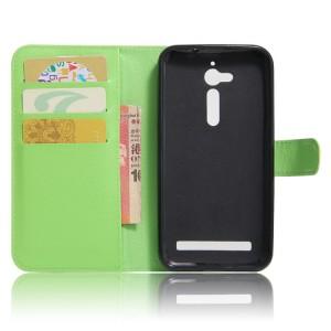 Чехол горизонтальная книжка подставка на силиконовой основе с отсеком для карт на магнитной защелке для ASUS ZenFone Go ZB500KL/ZB500KG Зеленый