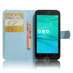 Чехол горизонтальная книжка подставка на силиконовой основе с отсеком для карт на магнитной защелке для ASUS ZenFone Go ZB500KL/ZB500KG