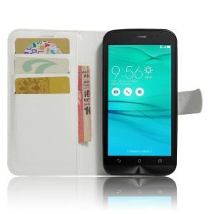 Чехол горизонтальная книжка подставка на силиконовой основе с отсеком для карт на магнитной защелке для ASUS ZenFone Go ZB500KL/ZB500KG Белый
