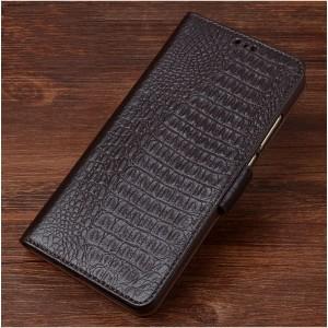 Кожаный чехол горизонтальная книжка подставка (премиум нат. кожа крокодила) с магнитной застежкой для ASUS ZenFone Go ZB500KL/ZB500KG