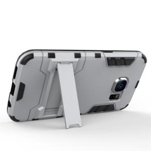 Противоударный двухкомпонентный силиконовый матовый непрозрачный чехол с поликарбонатными вставками экстрим защиты с встроенной ножкой-подставкой для Samsung Galaxy S7