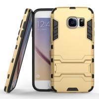 Противоударный двухкомпонентный силиконовый матовый непрозрачный чехол с поликарбонатными вставками экстрим защиты с встроенной ножкой-подставкой для Samsung Galaxy S7 Бежевый