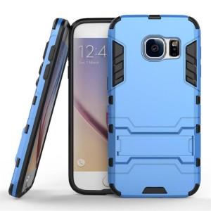 Противоударный двухкомпонентный силиконовый матовый непрозрачный чехол с поликарбонатными вставками экстрим защиты с встроенной ножкой-подставкой для Samsung Galaxy S7 Голубой
