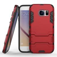 Противоударный двухкомпонентный силиконовый матовый непрозрачный чехол с поликарбонатными вставками экстрим защиты с встроенной ножкой-подставкой для Samsung Galaxy S7 Красный