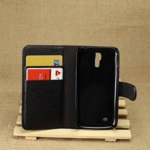 Чехол портмоне подставка на пластиковой основе на магнитной защелке для Samsung Galaxy S4 Mini Черный