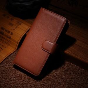 Чехол портмоне подставка на пластиковой основе на магнитной защелке для Nokia Lumia 630/635 Коричневый