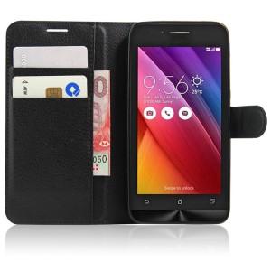 Чехол портмоне подставка на силиконовой основе на магнитной защелке для ASUS Zenfone Go Черный