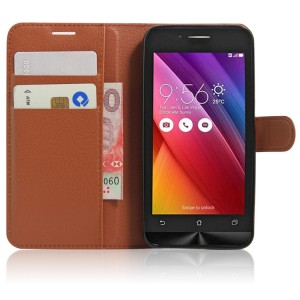 Чехол портмоне подставка на силиконовой основе на магнитной защелке для ASUS Zenfone Go Коричневый