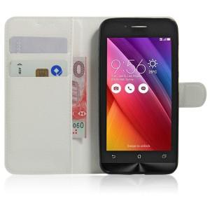 Чехол портмоне подставка на силиконовой основе на магнитной защелке для ASUS Zenfone Go Белый