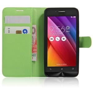 Чехол портмоне подставка на силиконовой основе на магнитной защелке для ASUS Zenfone Go Зеленый