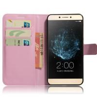 Чехол портмоне подставка на силиконовой основе на магнитной защелке для LeEco Le 2 Розовый
