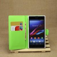 Чехол портмоне подставка на пластиковой основе на магнитной защелке для Sony Xperia Z1 Зеленый