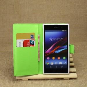 Чехол портмоне подставка на магнитной защелке для Sony Xperia Z1 Зеленый