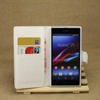 Чехол портмоне подставка на пластиковой основе на магнитной защелке для Sony Xperia Z1 Белый