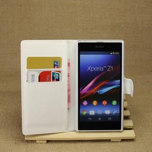 Чехол портмоне подставка на магнитной защелке для Sony Xperia Z1 Белый