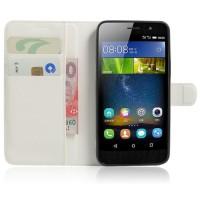 Чехол портмоне подставка на силиконовой основе на магнитной защелке для Huawei Honor 4C Pro  Белый