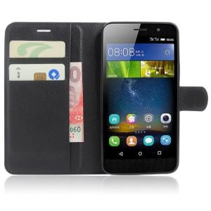 Чехол портмоне подставка на силиконовой основе на магнитной защелке для Huawei Honor 4C Pro  Черный