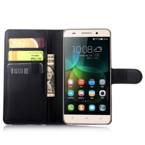 Чехол портмоне подставка на пластиковой основе на магнитной защелке для Huawei Honor 4C  Черный
